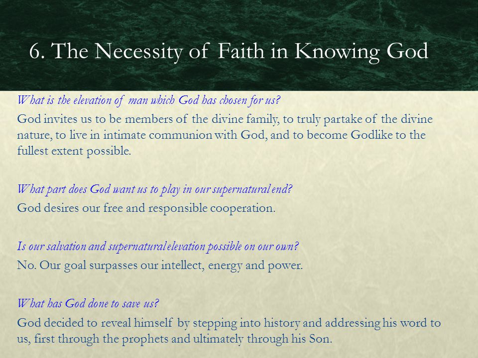 What is the elevation of man which God has chosen for us? God invites us to be members of the divine family, to truly partake of the divine nature, to