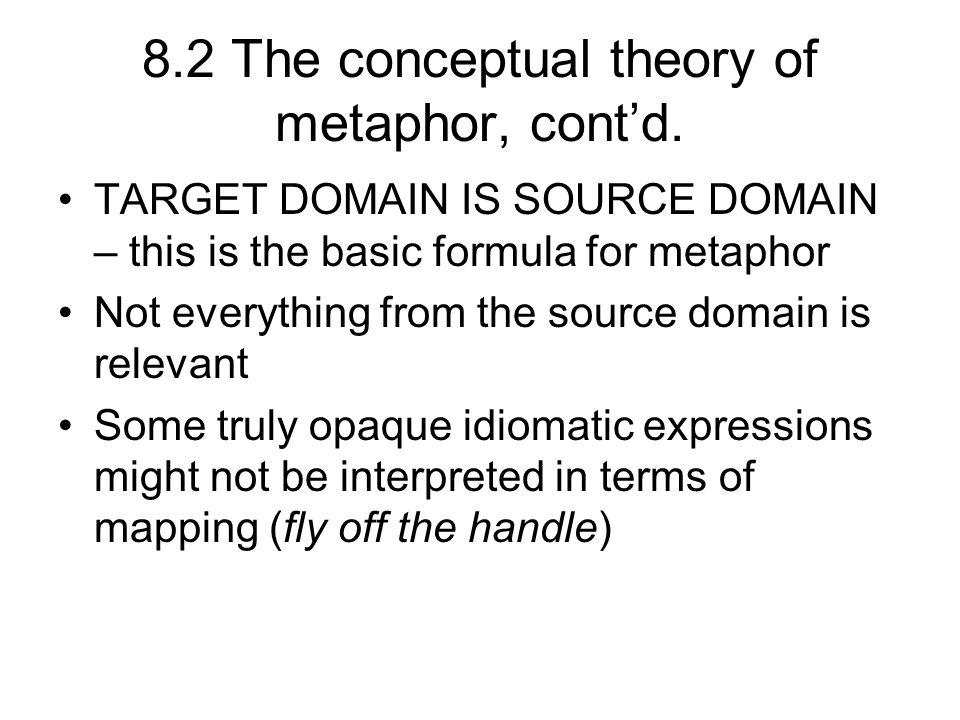 8.2 The conceptual theory of metaphor, contd.