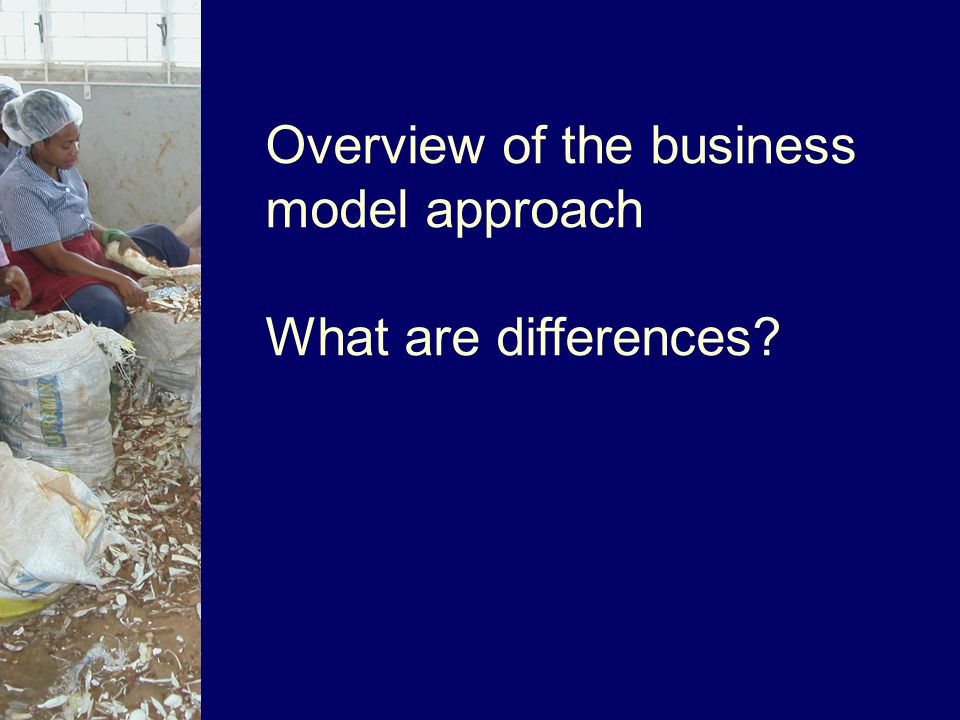 Overview of the business model approach What are differences?