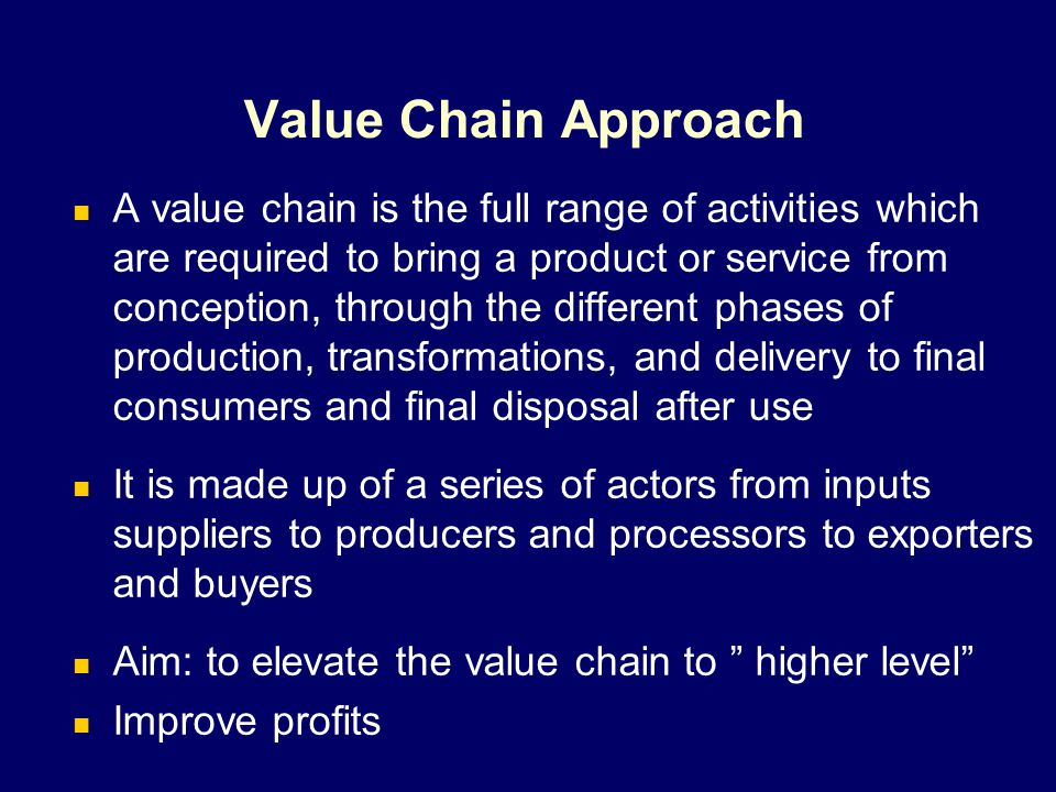 Critical Dimensions of a Value Chain InputsProductionProcessingRetailing Product Flow Financial Flow Information Flow Incentives and Governance