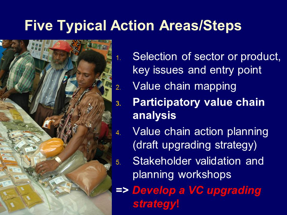 Five Typical Action Areas/Steps 1. Selection of sector or product, key issues and entry point 2. Value chain mapping 3. Participatory value chain anal
