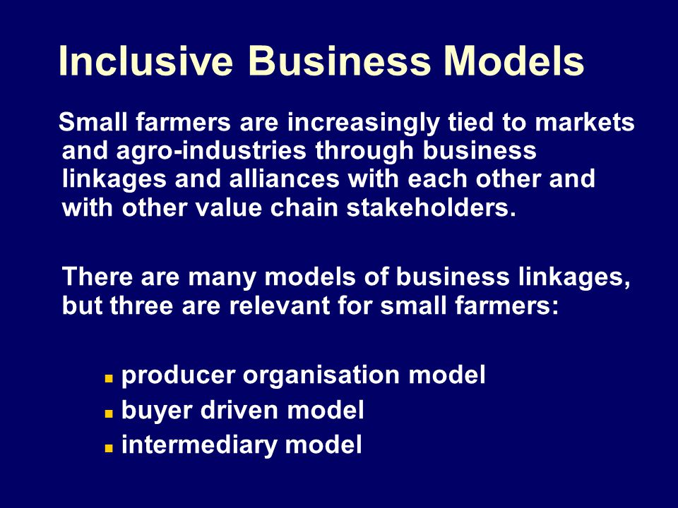 Typical organisation of smallholder production TypeDriverObjective Producer driven Small-scale producers themselves, through FOs: ECTAD, CPGC new markets higher market prices stabilize market position Large farmers extra supply volumes Buyer driven Processors (Hot Mama, BEL) Exporters (GUY) Retailers (Super J, SLU) assure supply Intermediary driven Traders, wholesalers and other traditional market actors supply more discerning customers NGOs and other support agencies make markets work for the poor National and local Governments i.e.