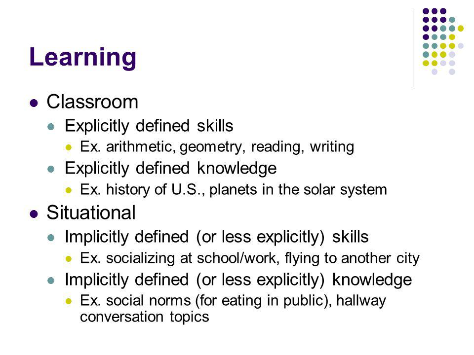 Learning Classroom Explicitly defined skills Ex. arithmetic, geometry, reading, writing Explicitly defined knowledge Ex. history of U.S., planets in t