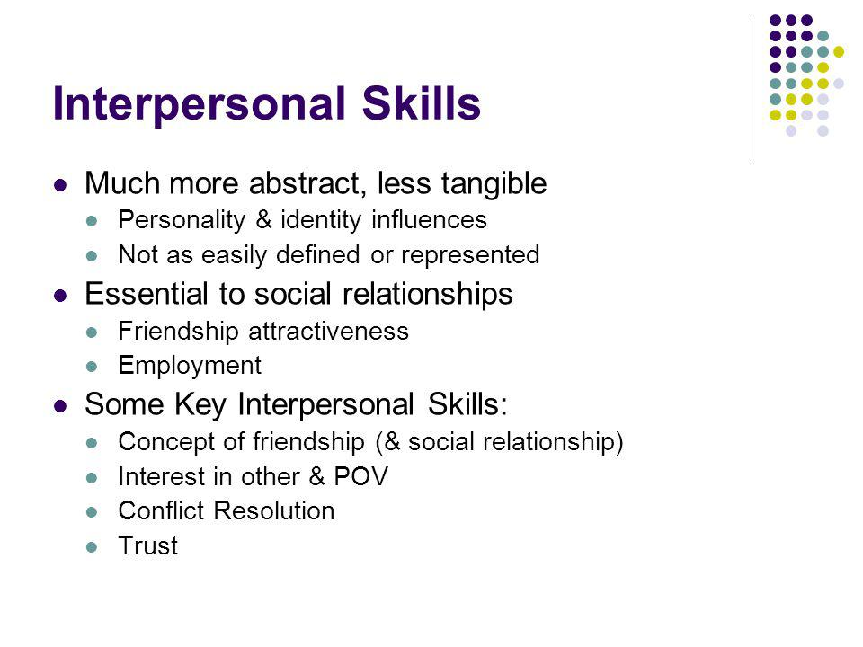 Interpersonal Skills Much more abstract, less tangible Personality & identity influences Not as easily defined or represented Essential to social rela