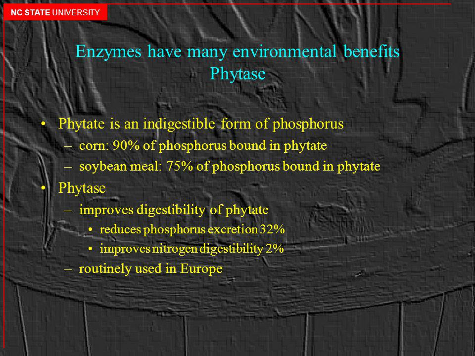 Enzymes have many environmental benefits Phytase Phytate is an indigestible form of phosphorus –corn: 90% of phosphorus bound in phytate –soybean meal