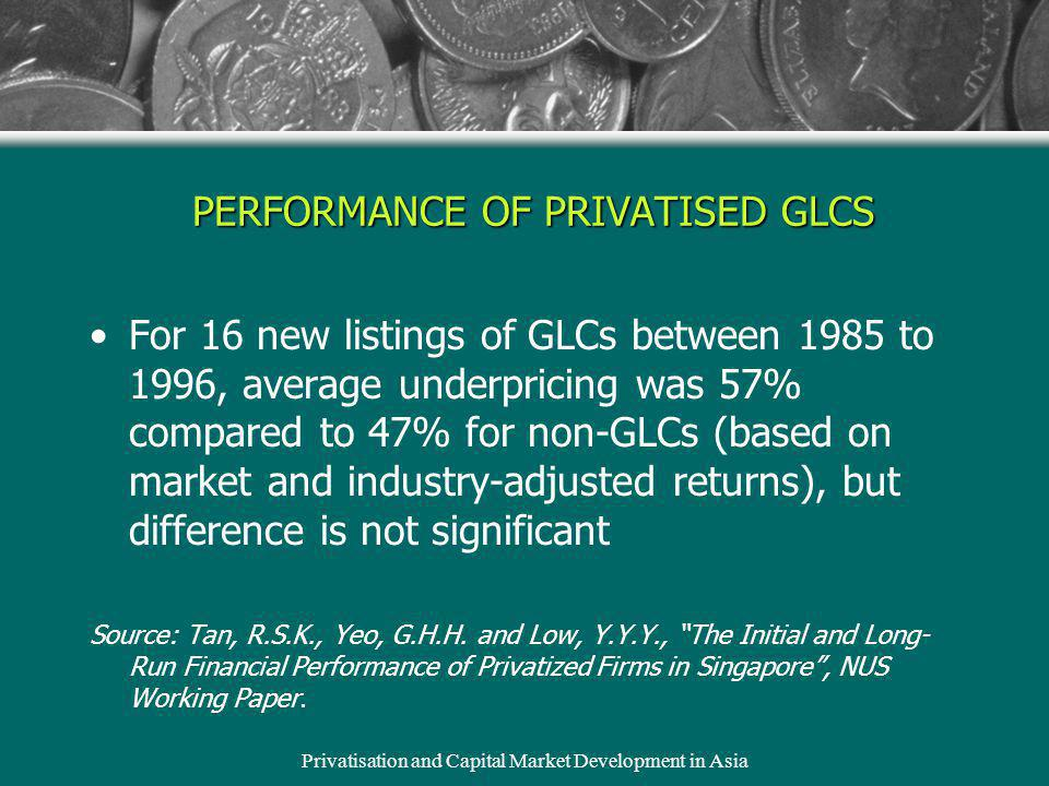 Privatisation and Capital Market Development in Asia PERFORMANCE OF PRIVATISED GLCS For 16 new listings of GLCs between 1985 to 1996, average underpri