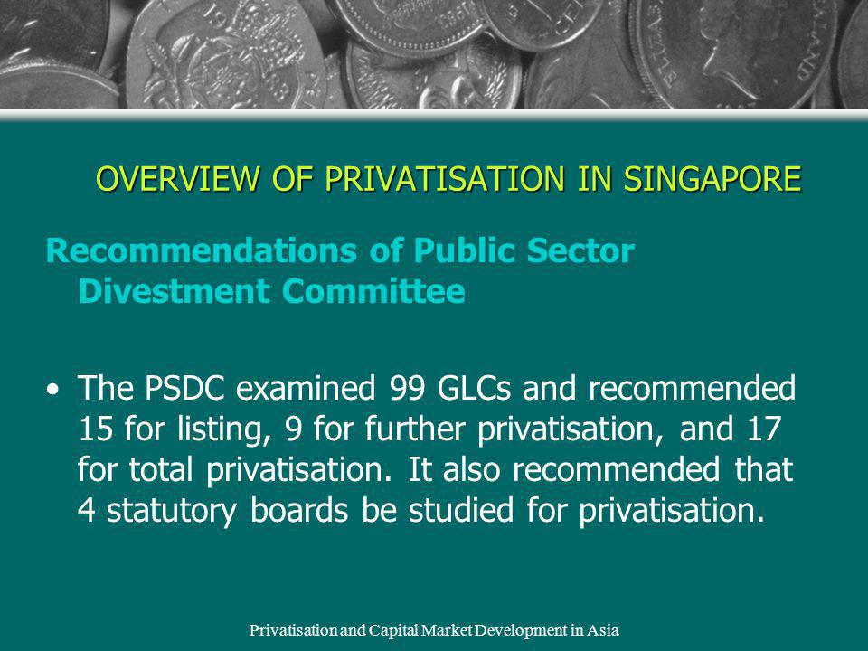 Privatisation and Capital Market Development in Asia Recommendations of Public Sector Divestment Committee The PSDC examined 99 GLCs and recommended 15 for listing, 9 for further privatisation, and 17 for total privatisation.