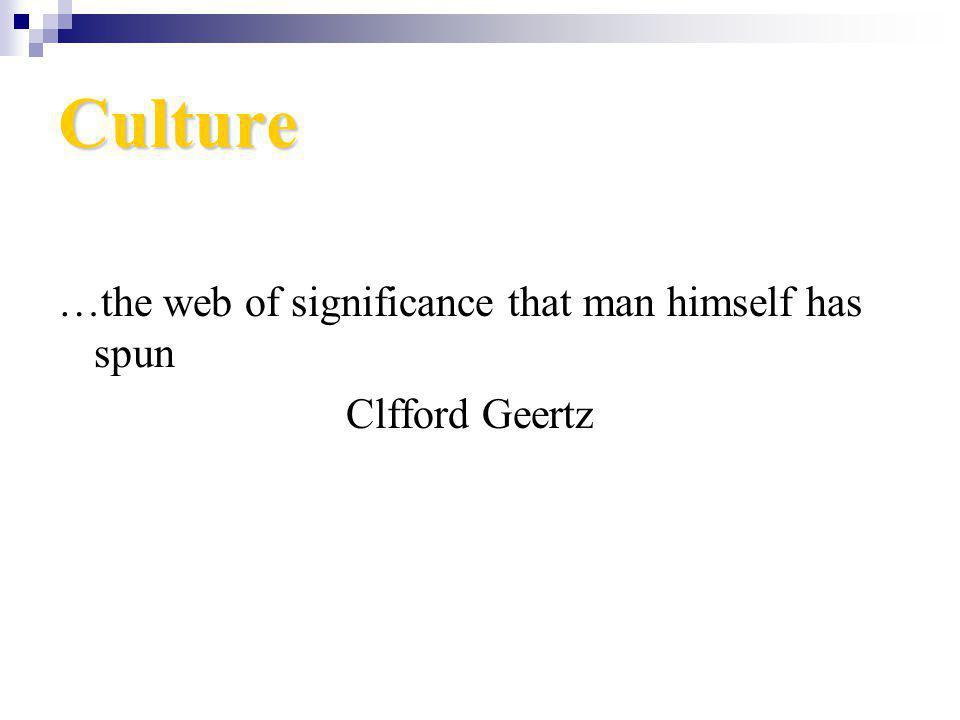 Culture …the web of significance that man himself has spun Clfford Geertz