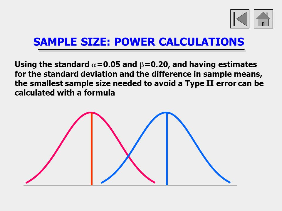 SAMPLE SIZE: POWER CALCULATIONS Using the standard =0.05 and =0.20, and having estimates for the standard deviation and the difference in sample means