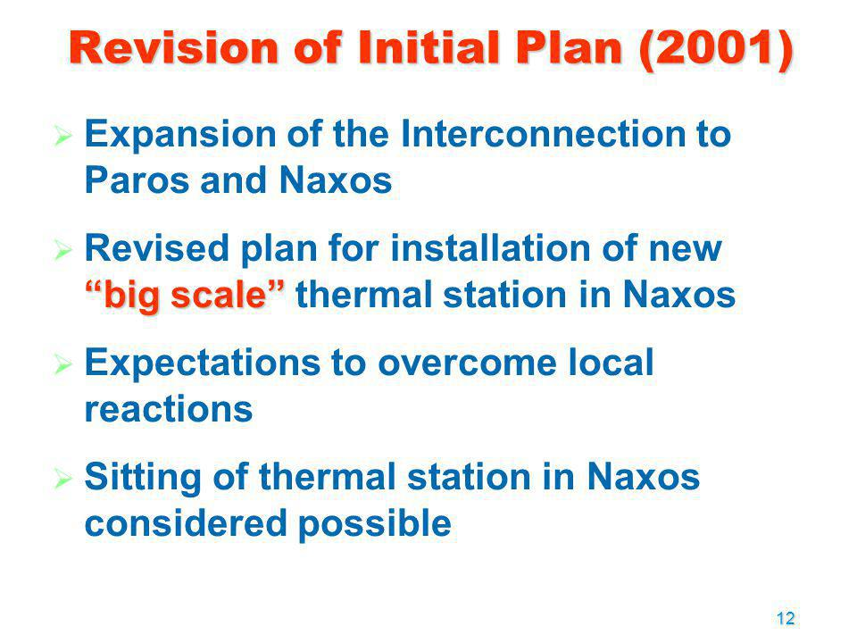 12 Expansion of the Interconnection to Paros and Naxos big scale Revised plan for installation of new big scale thermal station in Naxos Expectations