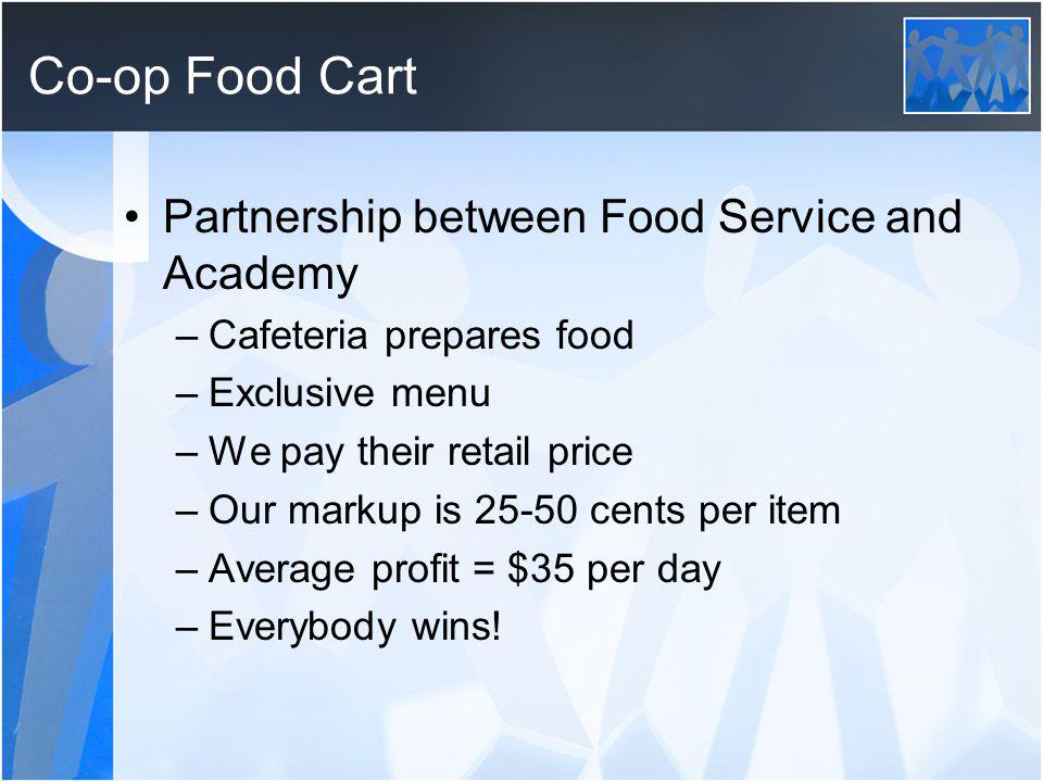 Co-op Food Cart Partnership between Food Service and Academy –Cafeteria prepares food –Exclusive menu –We pay their retail price –Our markup is 25-50 cents per item –Average profit = $35 per day –Everybody wins!