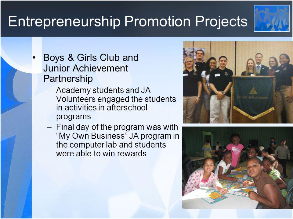 Entrepreneurship Promotion Projects Boys & Girls Club and Junior Achievement Partnership –Academy students and JA Volunteers engaged the students in activities in afterschool programs –Final day of the program was with My Own Business JA program in the computer lab and students were able to win rewards