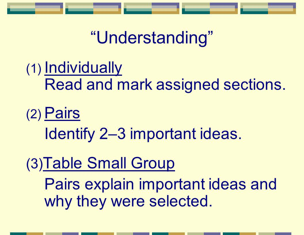 Understanding (1) Individually Read and mark assigned sections. (2) Pairs Identify 2–3 important ideas. (3) Table Small Group Pairs explain important