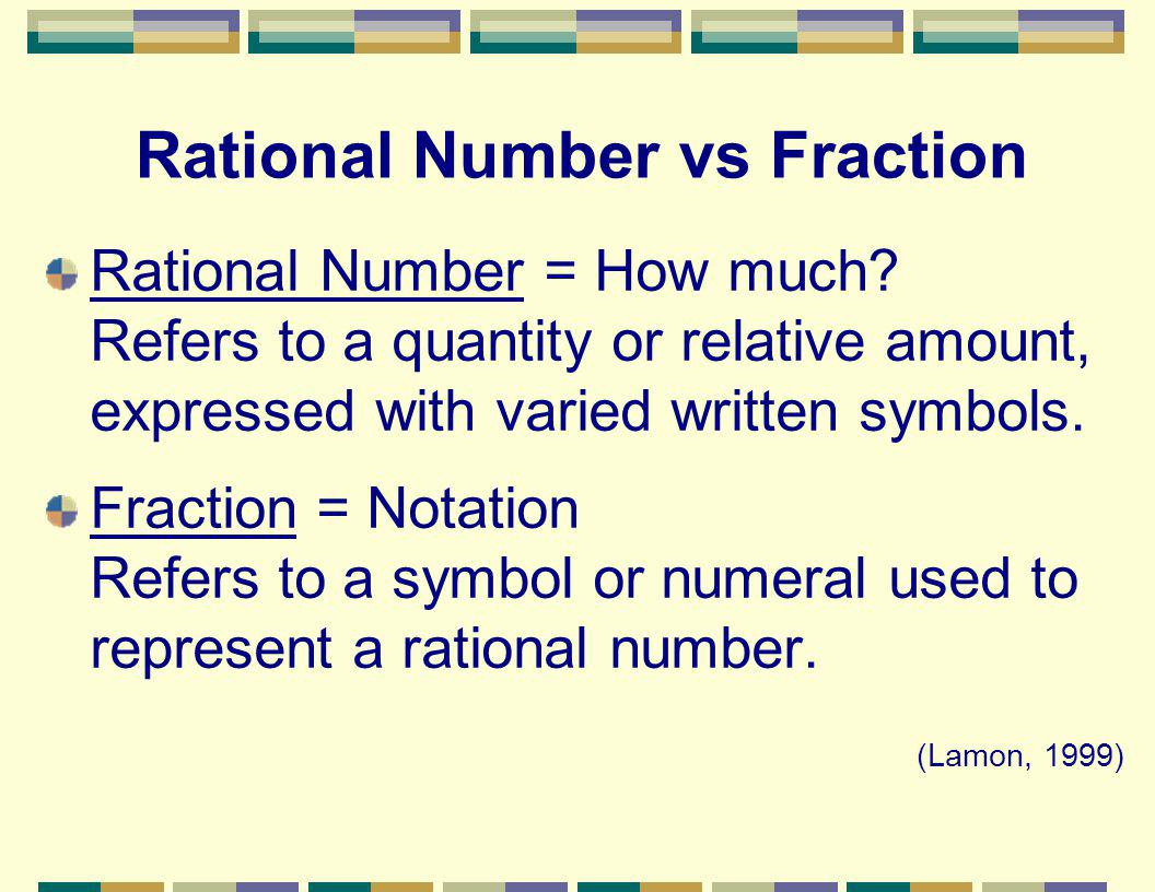 Rational Number vs Fraction Rational Number = How much.