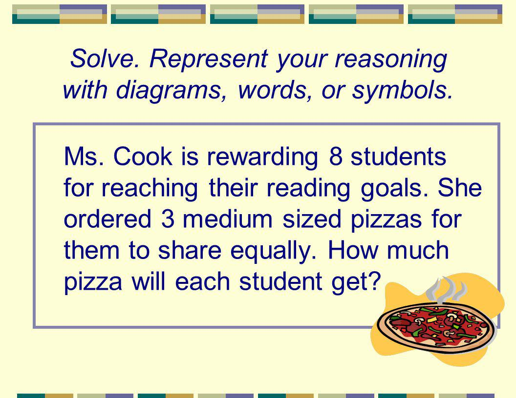 Solve. Represent your reasoning with diagrams, words, or symbols. Ms. Cook is rewarding 8 students for reaching their reading goals. She ordered 3 med