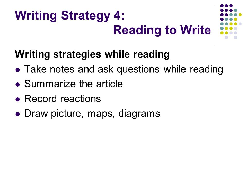 Writing Strategy 4: Reading to Write Writing strategies while reading Take notes and ask questions while reading Summarize the article Record reaction