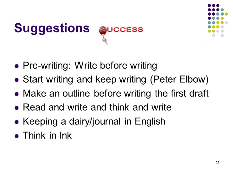 22 Suggestions Pre-writing: Write before writing Start writing and keep writing (Peter Elbow) Make an outline before writing the first draft Read and