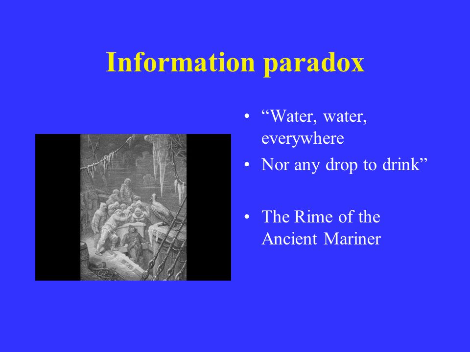 Information paradox Water, water, everywhere Nor any drop to drink The Rime of the Ancient Mariner