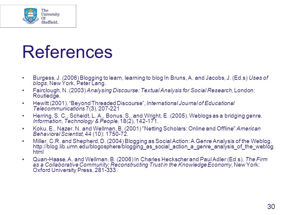 30 References Burgess, J. (2006) Blogging to learn, learning to blog In Bruns, A.