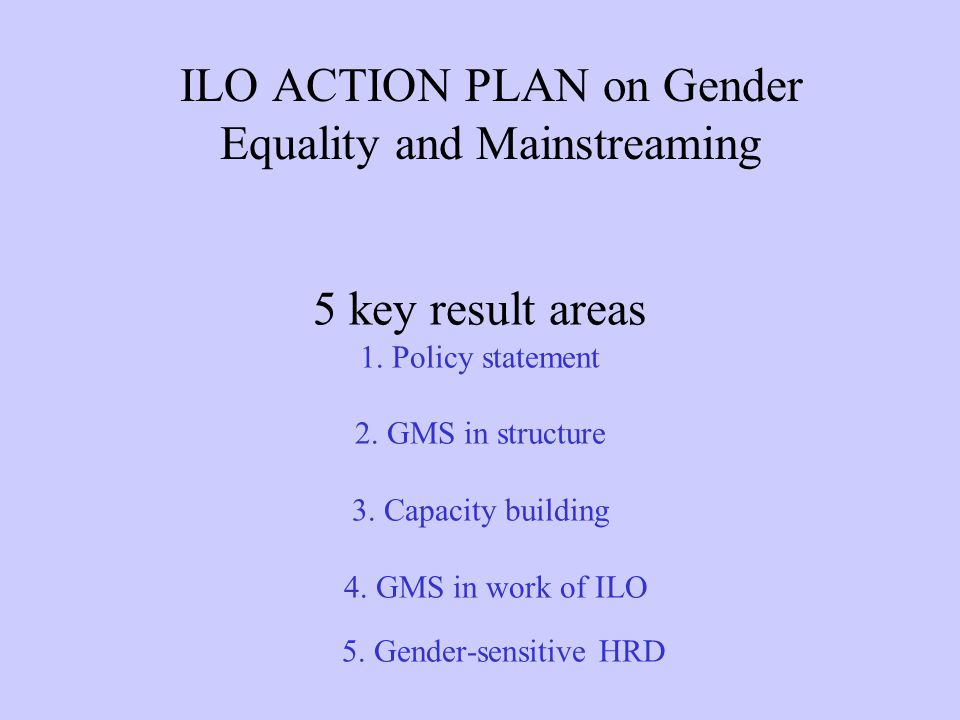 5 key result areas 1. Policy statement 2. GMS in structure 3. Capacity building 4. GMS in work of ILO 5. Gender-sensitive HRD ILO ACTION PLAN on Gende