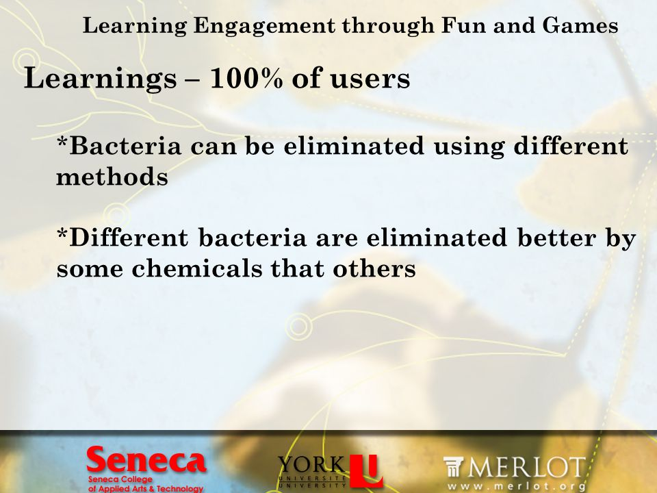 Learning Engagement through Fun and Games Learnings – 100% of users * Bacteria can be eliminated using different methods * Different bacteria are elim
