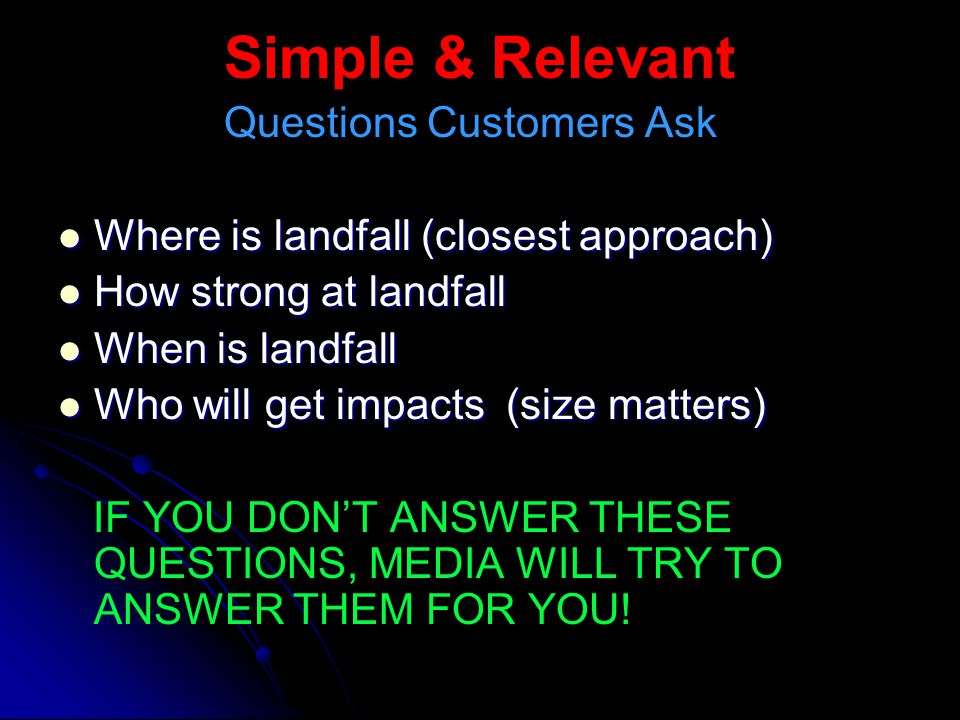 Simple & Relevant Questions Customers Ask Where is landfall (closest approach) Where is landfall (closest approach) How strong at landfall How strong