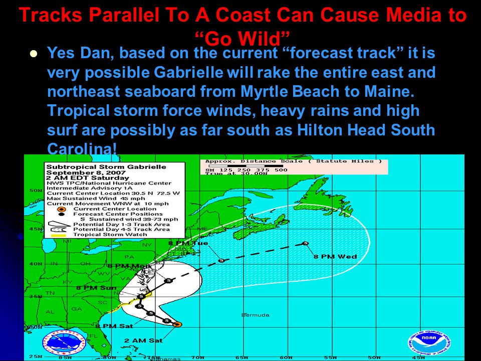 Tracks Parallel To A Coast Can Cause Media to Go Wild Yes Dan, based on the current forecast track it is very possible Gabrielle will rake the entire