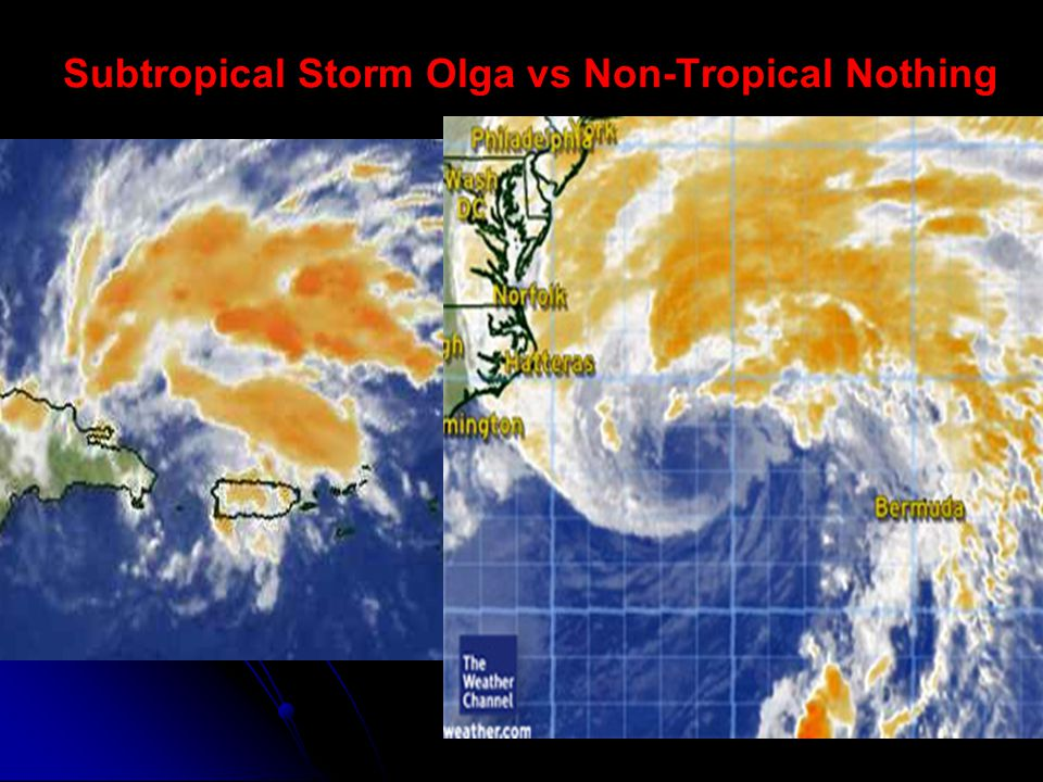 Subtropical Storm Olga vs Non-Tropical Nothing