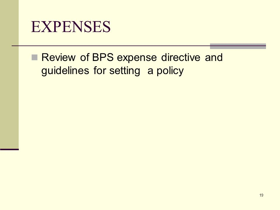 19 EXPENSES Review of BPS expense directive and guidelines for setting a policy