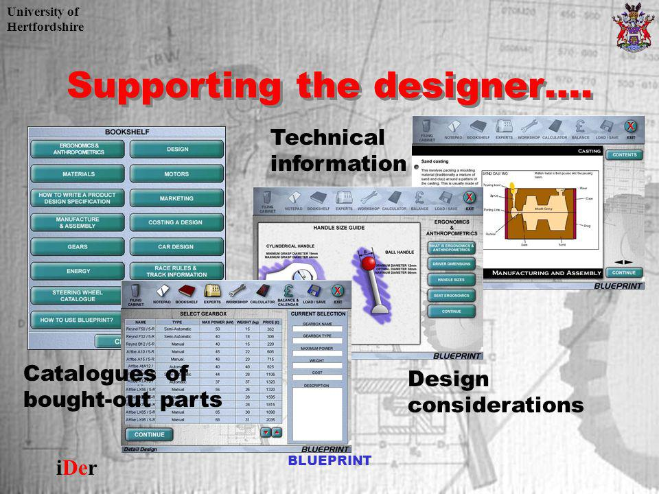 University of Hertfordshire iDer BLUEPRINT Supporting the designer…. Technical information Design considerations Catalogues of bought-out parts