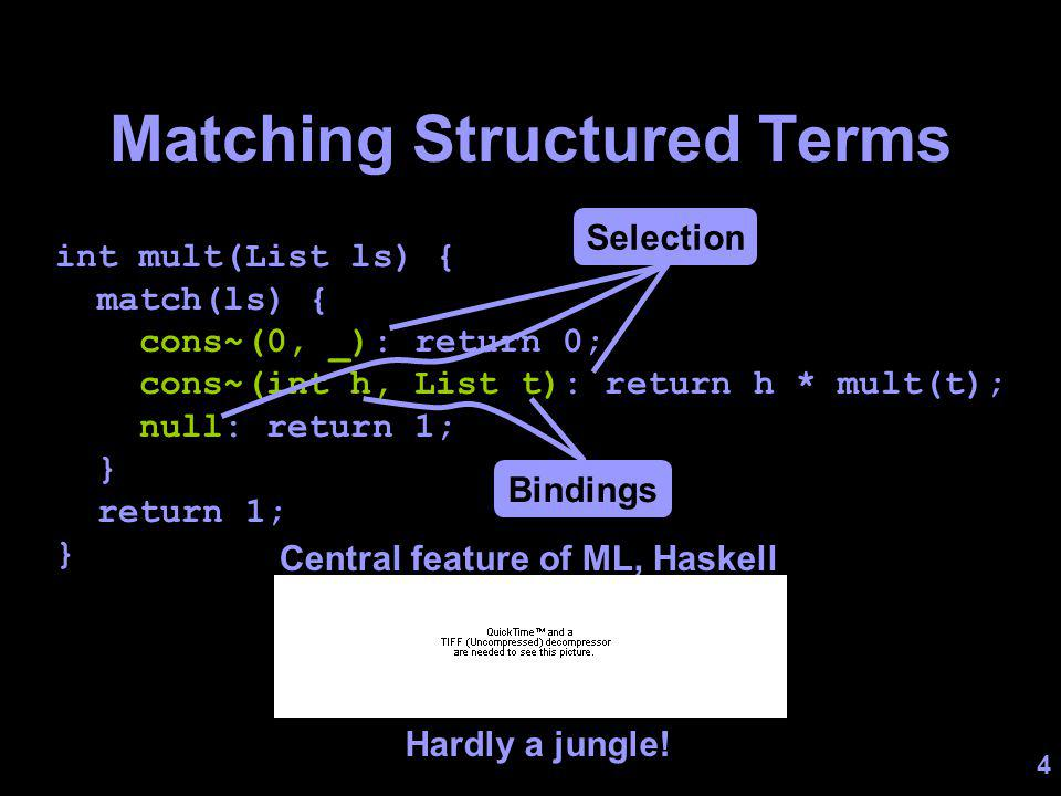 4 Matching Structured Terms int mult(List ls) { match(ls) { cons~(0, _): return 0; cons~(int h, List t): return h * mult(t); null: return 1; } return 1; } Selection Bindings Central feature of ML, Haskell Hardly a jungle!