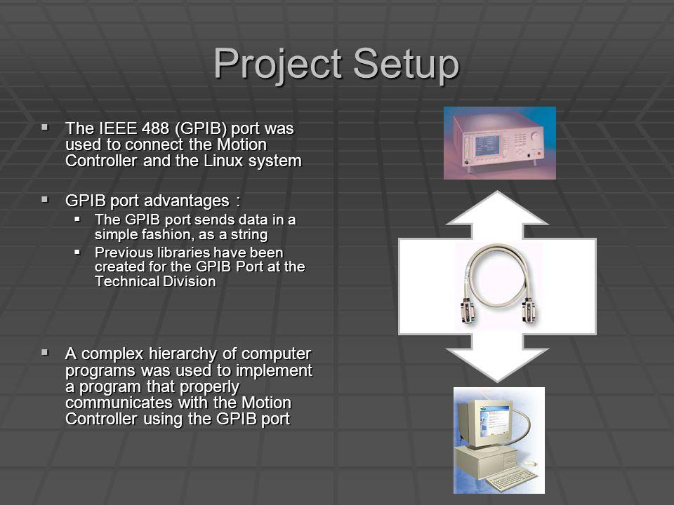 Project Setup The IEEE 488 (GPIB) port was used to connect the Motion Controller and the Linux system The IEEE 488 (GPIB) port was used to connect the Motion Controller and the Linux system GPIB port advantages : GPIB port advantages : The GPIB port sends data in a simple fashion, as a string The GPIB port sends data in a simple fashion, as a string Previous libraries have been created for the GPIB Port at the Technical Division Previous libraries have been created for the GPIB Port at the Technical Division A complex hierarchy of computer programs was used to implement a program that properly communicates with the Motion Controller using the GPIB port A complex hierarchy of computer programs was used to implement a program that properly communicates with the Motion Controller using the GPIB port