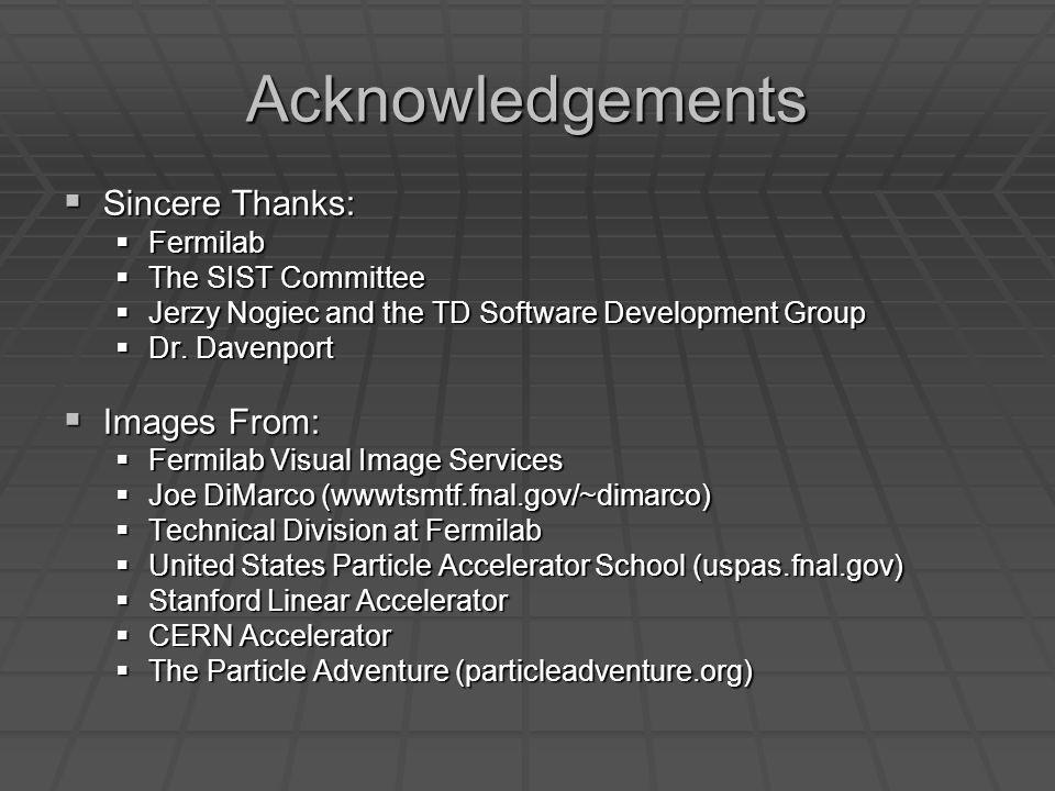 Acknowledgements Sincere Thanks: Sincere Thanks: Fermilab Fermilab The SIST Committee The SIST Committee Jerzy Nogiec and the TD Software Development
