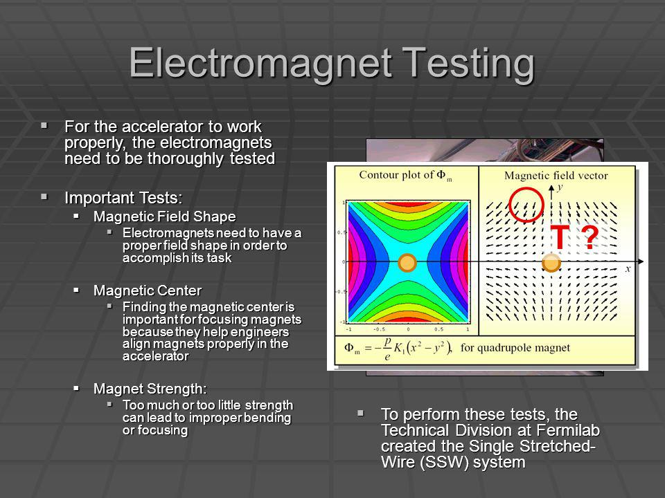 Electromagnet Testing For the accelerator to work properly, the electromagnets need to be thoroughly tested For the accelerator to work properly, the electromagnets need to be thoroughly tested Important Tests: Important Tests: Magnetic Field Shape Magnetic Field Shape Electromagnets need to have a proper field shape in order to accomplish its task Electromagnets need to have a proper field shape in order to accomplish its task Magnetic Center Magnetic Center Finding the magnetic center is important for focusing magnets because they help engineers align magnets properly in the accelerator Finding the magnetic center is important for focusing magnets because they help engineers align magnets properly in the accelerator Magnet Strength: Magnet Strength: Too much or too little strength can lead to improper bending or focusing Too much or too little strength can lead to improper bending or focusing To perform these tests, the Technical Division at Fermilab created the Single Stretched- Wire (SSW) system To perform these tests, the Technical Division at Fermilab created the Single Stretched- Wire (SSW) system T ?