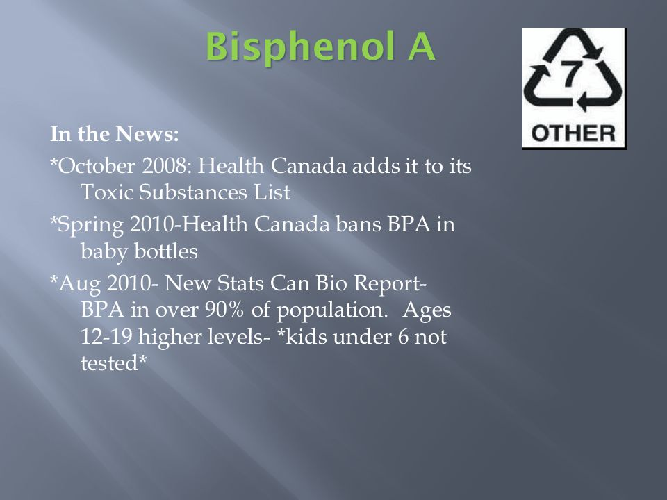 In the News: *October 2008: Health Canada adds it to its Toxic Substances List *Spring 2010-Health Canada bans BPA in baby bottles *Aug 2010- New Stats Can Bio Report- BPA in over 90% of population.