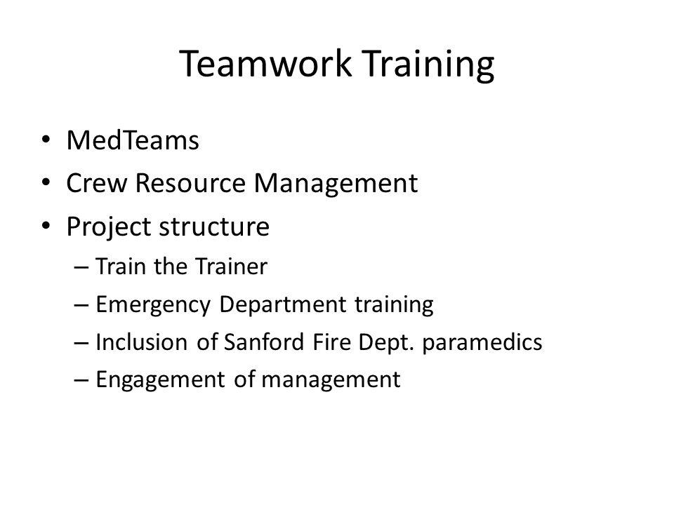 Teamwork Training MedTeams Crew Resource Management Project structure – Train the Trainer – Emergency Department training – Inclusion of Sanford Fire Dept.