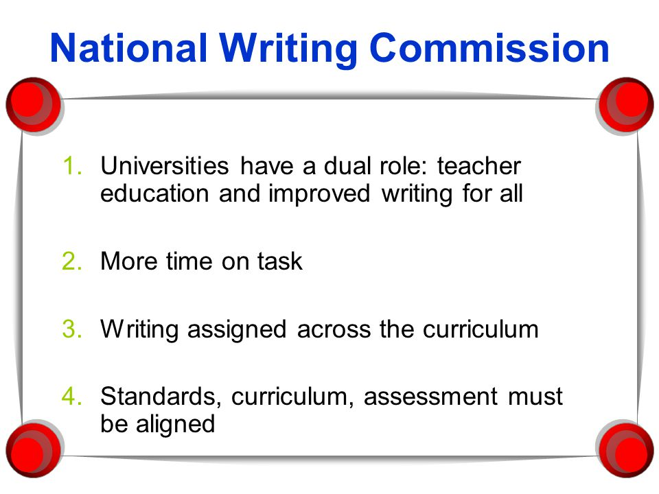 National Writing Commission 1.Universities have a dual role: teacher education and improved writing for all 2.More time on task 3.Writing assigned across the curriculum 4.Standards, curriculum, assessment must be aligned