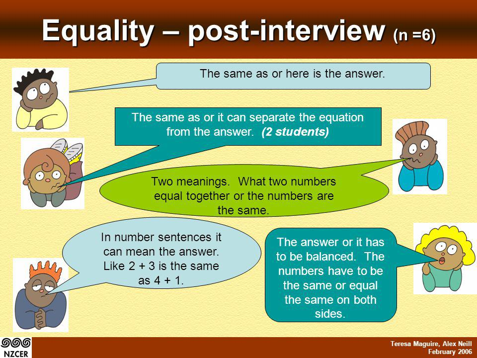 Teresa Maguire, Alex Neill February 2006 Equality – post-interview (n =6) The same as or it can separate the equation from the answer. (2 students) Tw