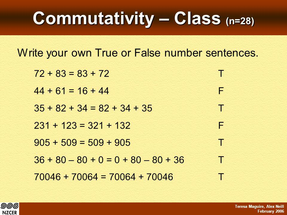 Teresa Maguire, Alex Neill February 2006 Commutativity – Class (n=28) Write your own True or False number sentences.
