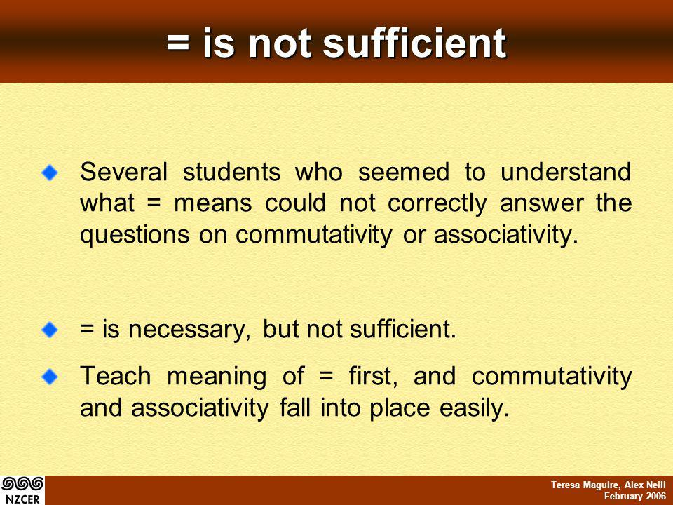 Teresa Maguire, Alex Neill February 2006 = is not sufficient Several students who seemed to understand what = means could not correctly answer the que