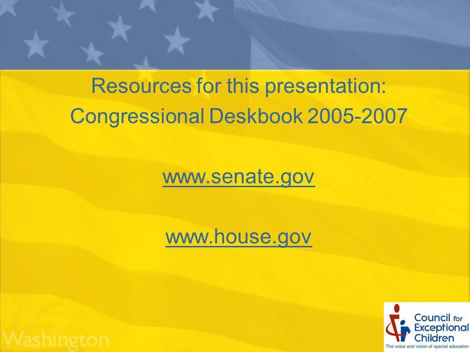 Resources for this presentation: Congressional Deskbook 2005-2007 www.senate.gov www.house.gov