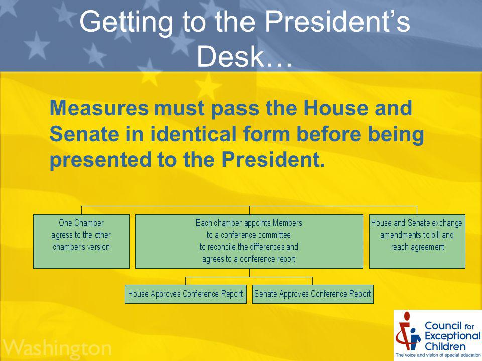 Getting to the Presidents Desk… Measures must pass the House and Senate in identical form before being presented to the President.