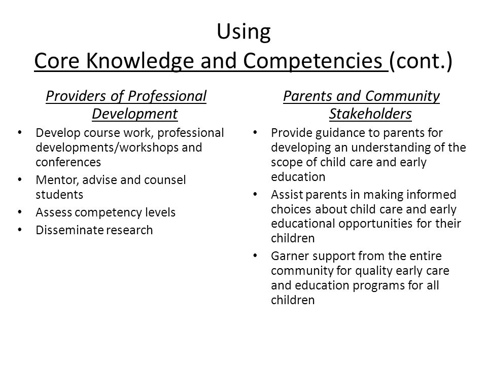 Using Core Knowledge and Competencies (cont.) Providers of Professional Development Develop course work, professional developments/workshops and conferences Mentor, advise and counsel students Assess competency levels Disseminate research Parents and Community Stakeholders Provide guidance to parents for developing an understanding of the scope of child care and early education Assist parents in making informed choices about child care and early educational opportunities for their children Garner support from the entire community for quality early care and education programs for all children