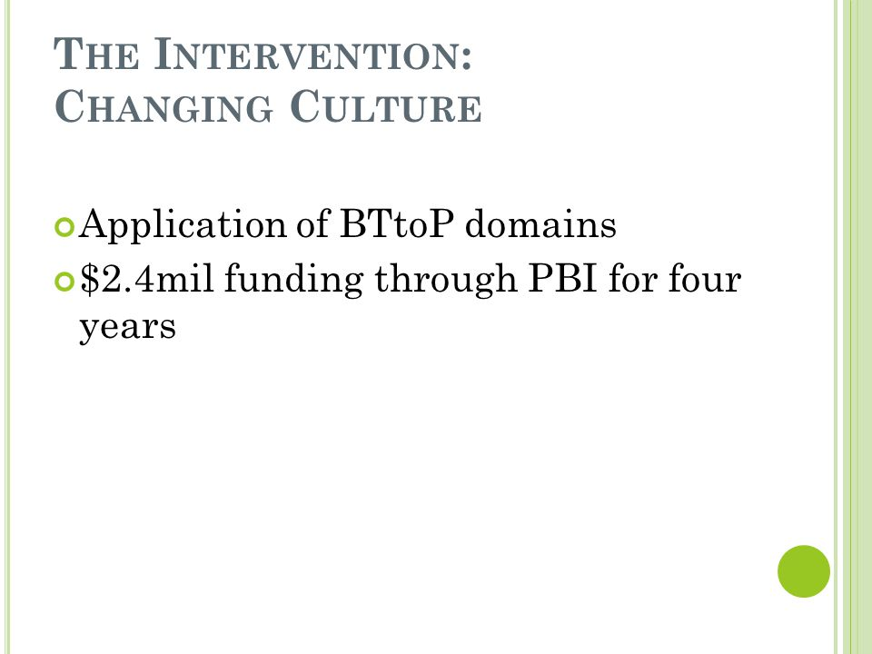 T HE I NTERVENTION : C HANGING C ULTURE Application of BTtoP domains $2.4mil funding through PBI for four years