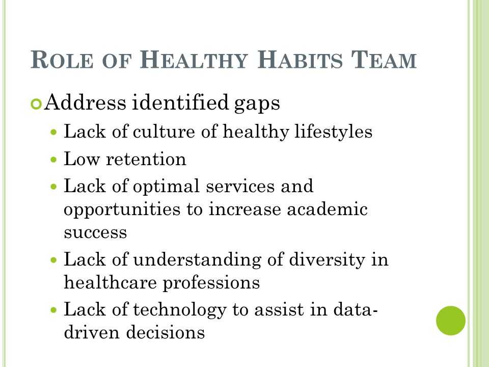 R OLE OF H EALTHY H ABITS T EAM Address identified gaps Lack of culture of healthy lifestyles Low retention Lack of optimal services and opportunities to increase academic success Lack of understanding of diversity in healthcare professions Lack of technology to assist in data- driven decisions