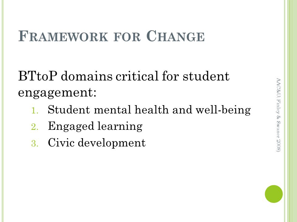 F RAMEWORK FOR C HANGE BTtoP domains critical for student engagement: 1.