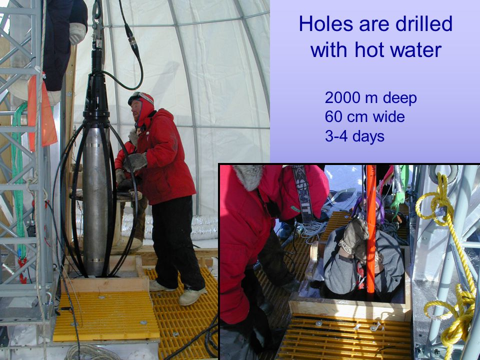 Holes are drilled with hot water 2000 m deep 60 cm wide 3-4 days