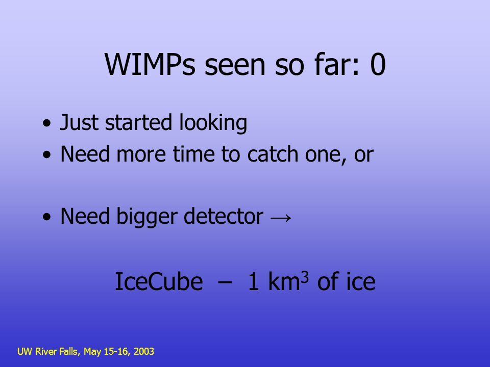 UW River Falls, May 15-16, 2003 WIMPs seen so far: 0 Just started looking Need more time to catch one, or Need bigger detector IceCube – 1 km 3 of ice