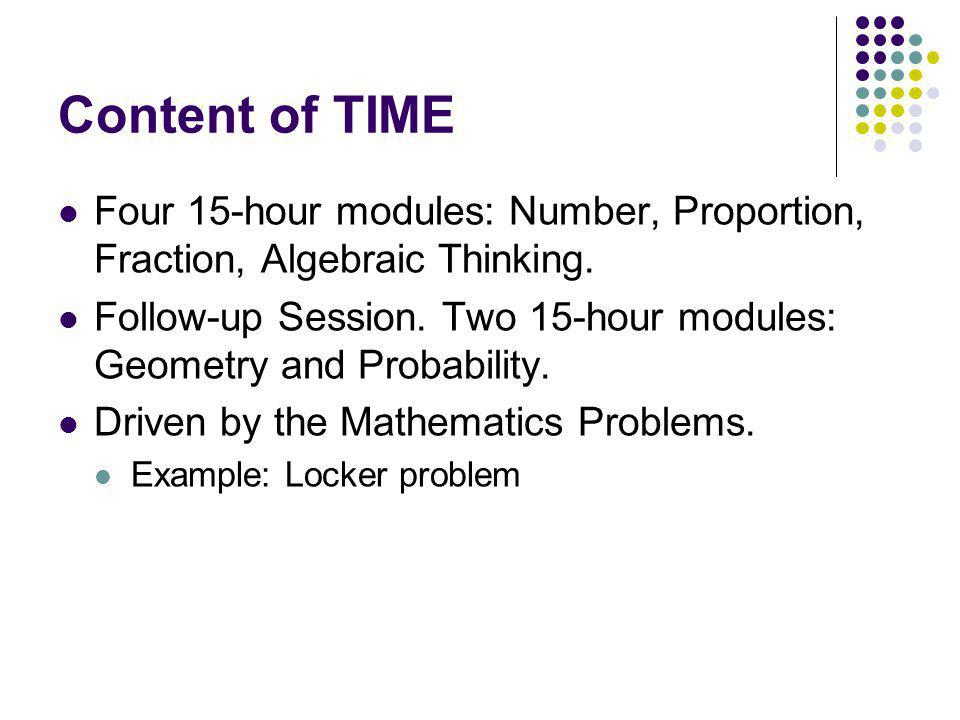 Content of TIME Four 15-hour modules: Number, Proportion, Fraction, Algebraic Thinking. Follow-up Session. Two 15-hour modules: Geometry and Probabili
