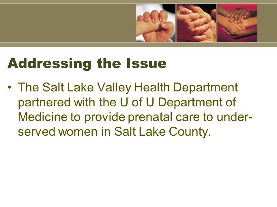 Addressing the Issue The Salt Lake Valley Health Department partnered with the U of U Department of Medicine to provide prenatal care to under- served women in Salt Lake County.